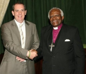 Dominic Loughran and Archbishop Tutu in Washington